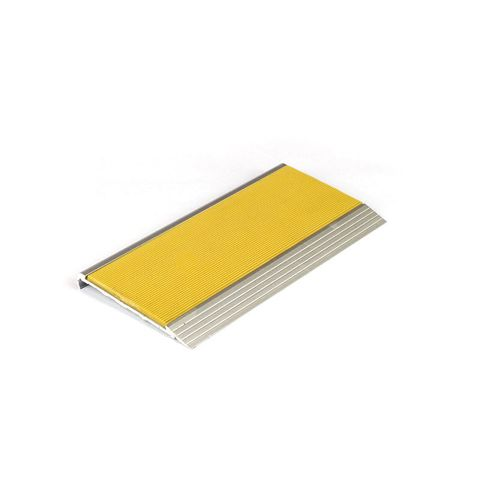 Stair Nosing 75 x 10 x 3620mm Natural Anodised with PVC Insert - Yellow