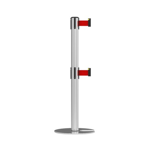 Neata Double Belt Post Stackable Base Economy Stainless Steel - Red