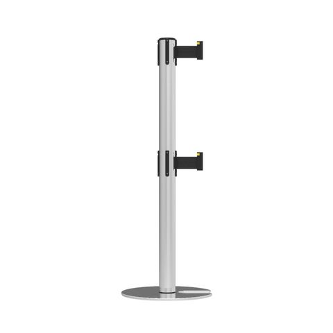 Neata Double Belt Post Stackable Base Economy Stainless Steel - Black