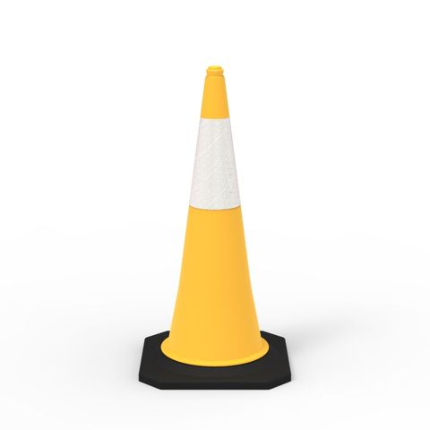 Traffic Cone - 1000mm Reflective - Yellow - Value Pack of 10