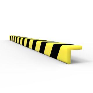 Anti Collision Strip 1m Polyurethane Black/Yellow - L Profile