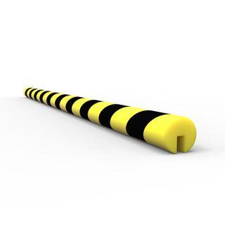 Anti Collision Strip 1m Polyurethane Black/Yellow - C Profile