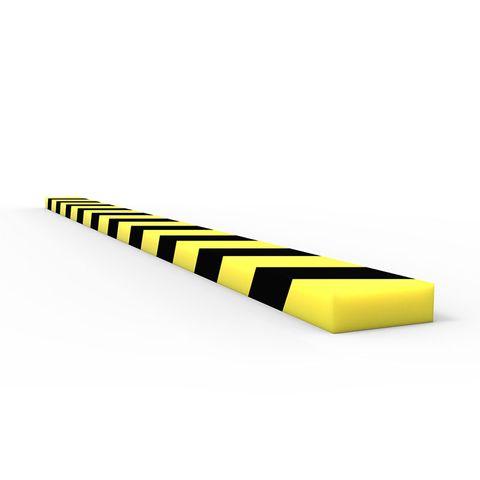Anti Collision Strip 1m Polyurethane Black/Yellow - Rectangular Profile