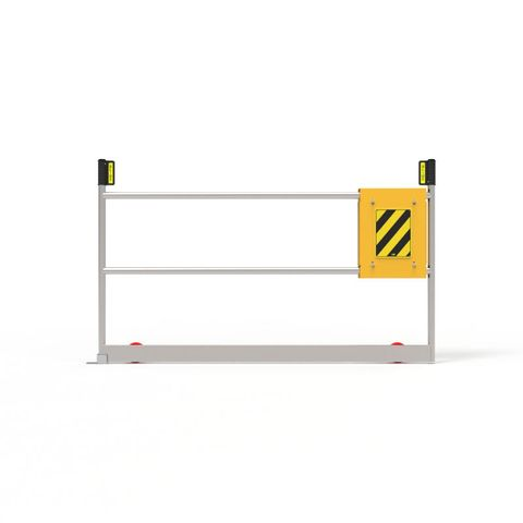 Ball Fence Roller Gate 1500mm Opening Yellow Gate Body with Mill Finished Aluminium Hoop