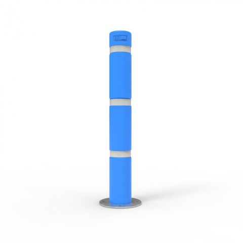 Bollard 140mm Surface Mounted with Skinz Bollard Sleeve and White Reflective Tape - Disability Blue