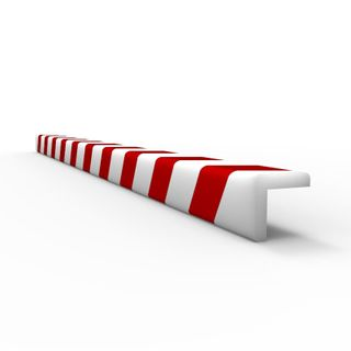 Anti Collision Strip 1m Polyurethane Red/White - L Profile