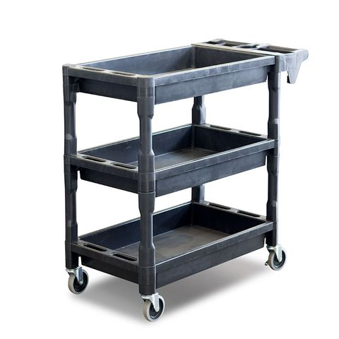 Utility Cart - 3 Level Service Cart - Plastic with Castors and Handle