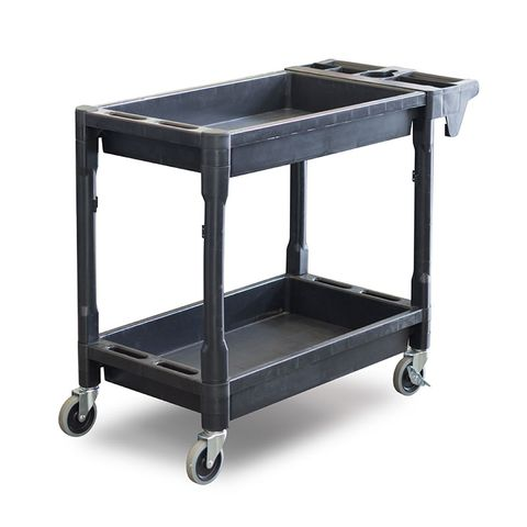 Utility Cart - 2 Level Service Cart - Plastic with Castors and Handle