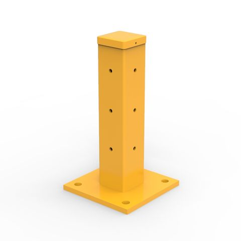 Rib-Rail Single Height Post 480mm Including Fixings - Powder Coated Safety Yellow