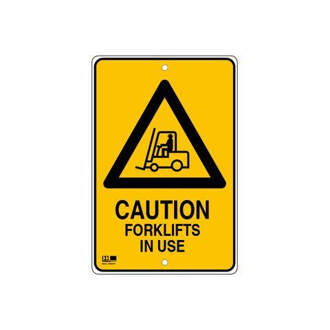 Pilot Sign - Caution Forklifts - 300 x 450 x 1.4mm Polypropylene