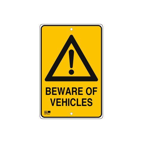Pilot Sign - Beware of Vehicles - 300 x 450 x 1.4mm Polypropylene