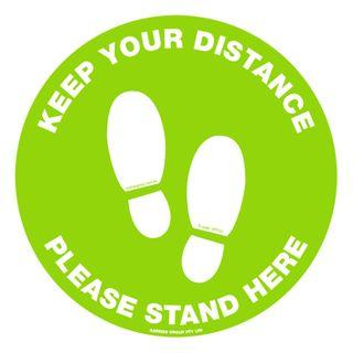 """Adhesive Floor Sticker """"Keep Your Distance"""" 300mm Round Anti Slip"""