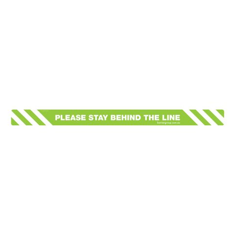 """Adhesive Floor Sticker """"Please Stay Behind The Line"""" Anti Slip 1000 x 75mm"""