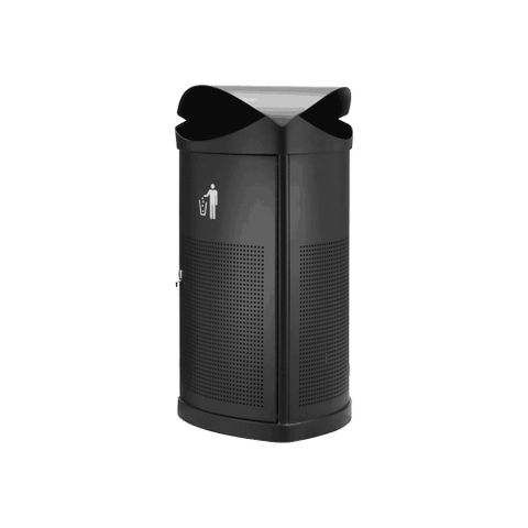 Waste Bin - Rain Top 55lt - Powder Coated Black