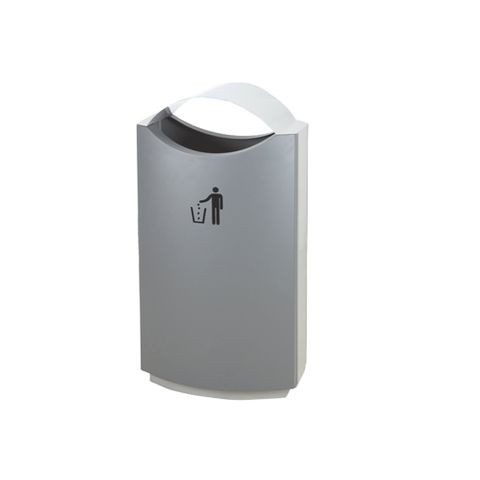 Waste Bin - Rain Top 40lt - Powder Coated Grey