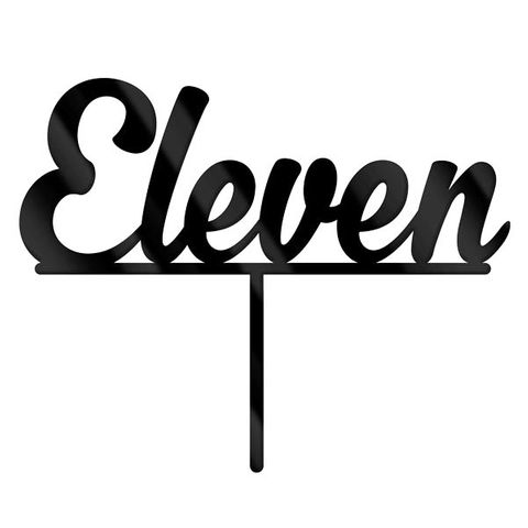 NUMBER ELEVEN BLACK ACRYLIC CAKE TOPPER