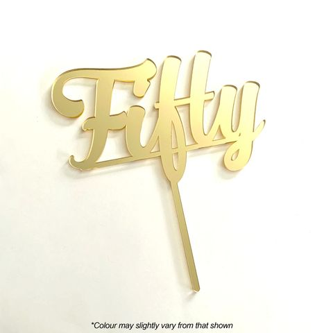 NUMBER FIFTY GOLD MIRROR ACRYLIC CAKE TOPPER
