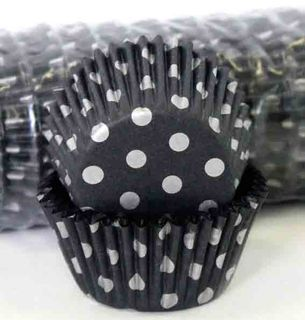 408 BAKING CUPS - BLACK/SILVER POLKA DOTS - 500 PIECE PACK