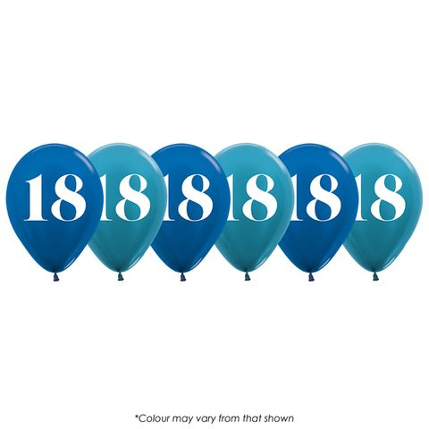 BALLOON | NUMBER 18 | BLUE | SHIMMER FINISH | 30CM | 6 PACK