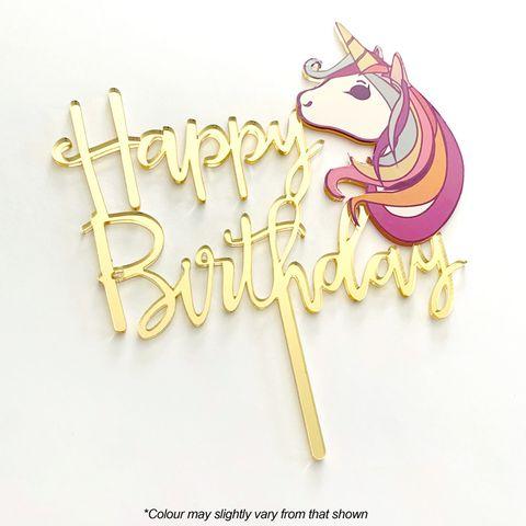 CAKE CRAFT   HAPPY BIRTHDAY UNICORN   GOLD MIRROR   ACRYLIC TOPPER
