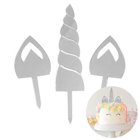 CAKE CRAFT | UNICORN | SILVER MIRROR | ACRYLIC TOPPER