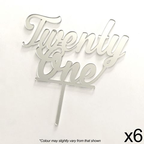 CAKE CRAFT | TWENTY ONE | SILVER MIRROR | ACRYLIC TOPPER | 6 PACK