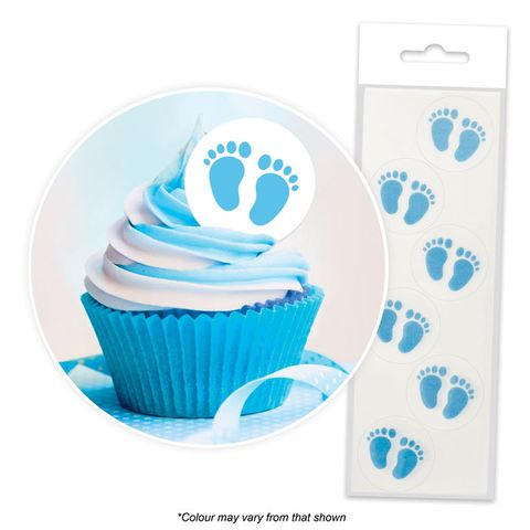 CAKE CRAFT   BLUE BABY FEET   WAFER TOPPERS   PACKET OF 24