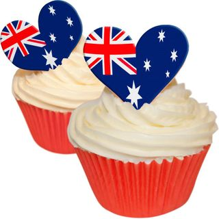 AUSTRALIAN FLAG HEARTS WAFER PAPER CUPCAKE TOPPERS - 12 PIECES