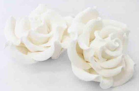 JUMBO CLASSIC ROSE (16) WHITE - SUGAR FLOWERS