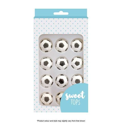SWEET TOPS   SOCCER BALL   ICING DECORATIONS   12 PIECES