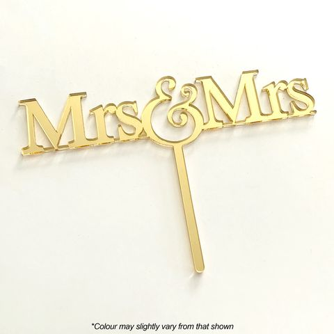 MRS & MRS GOLD MIRROR ACRYLIC CAKE TOPPER