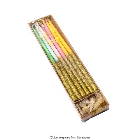 GLITTER DIPPED CANDLE | RAINBOW | 12 PACK