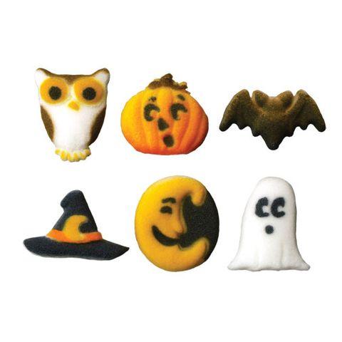 CUTIE CREEPERS MINI HALLOWEEN ASSORTED DEC-ON (180) - OWL, PUMPKIN, BAT, HAT, MOON OR GHOST SUGAR DECORATIONS