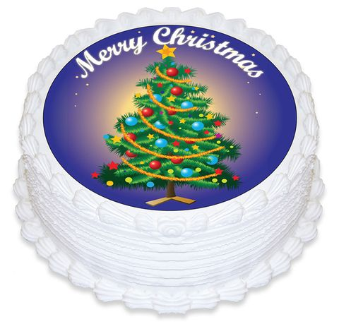 CHRISTMAS TREE ROUND EDIBLE ICING IMAGE - 6.3 INCH / 16CM