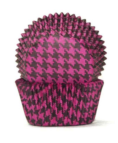 700 BAKING CUPS - PINK/BLACK HOUNDS TOOTH - 100 PIECE PACK