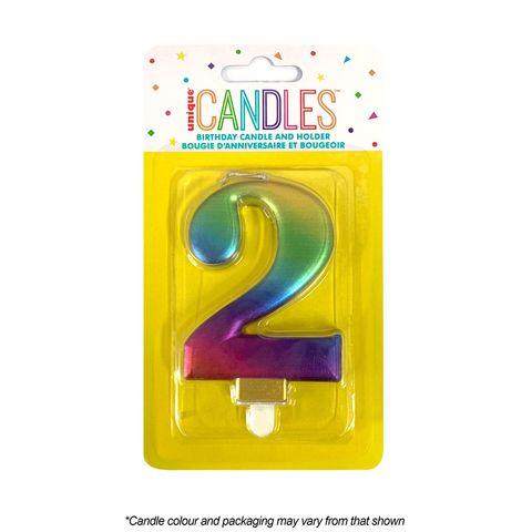NUMBER 2 | METALLIC RAINBOW | CANDLE