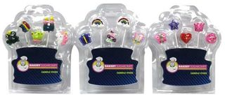ASSORTED GIRL PICK CANDLES - PRINCESS, BUTTERFLY OR RAINBOW THEME (12)