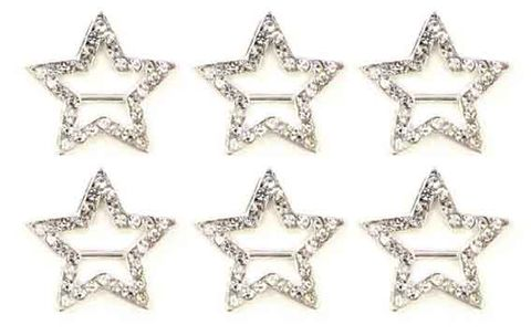 DIAMANTE BUCKLE STAR - 6 PC