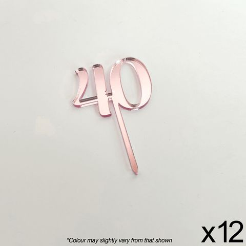 CAKE CRAFT | #40 | 3.5CM | ROSE GOLD MIRROR | ACRYLIC CUPCAKE TOPPER | 12 PACK