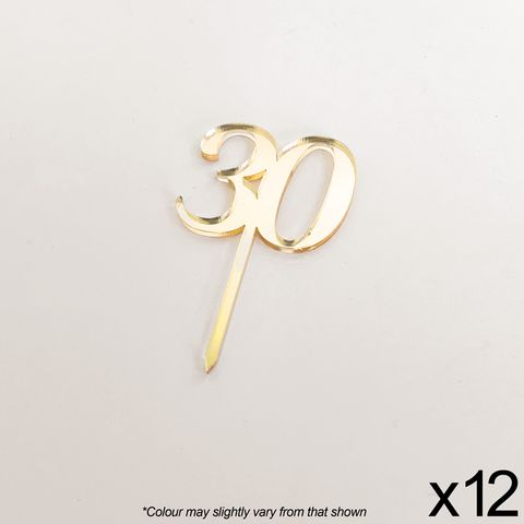 CAKE CRAFT   #30   3.5CM   GOLD MIRROR   ACRYLIC CUPCAKE TOPPER   12 PACK
