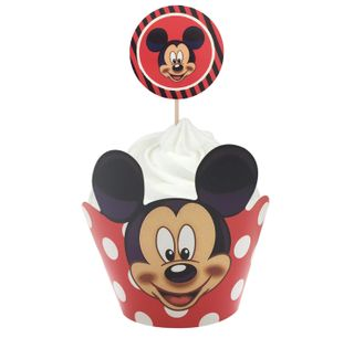 MICKEY MOUSE - WRAP & TOPPER SET - 12 CUPCAKES