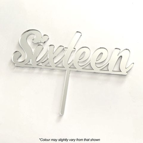 NUMBER SIXTEEN SILVER MIRROR ACRYLIC CAKE TOPPER