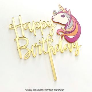 CAKE CRAFT | HAPPY BIRTHDAY UNICORN | GOLD MIRROR | ACRYLIC TOPPER