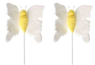 BUTTERFLY MEDIUM WHITE ON WIRE (16) - SUGAR DECORATIONS