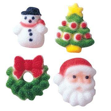 CHRISTMAS CHARMS ASSORTED DEC-ON (508) - SNOWMAN, TREE, WREATH OR SANTA SUGAR DECORATIONS