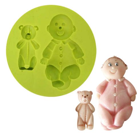 SILICONE MOULD - BABY AND TEDDY