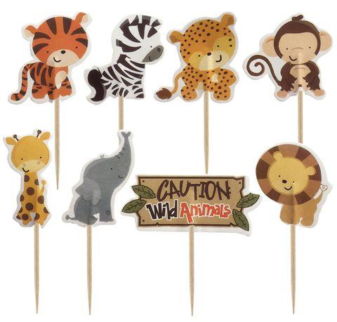 SAFARI ANIMAL CUPCAKE PICKS - 24 ASSORTED PIECES