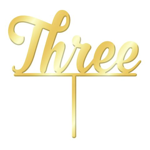 NUMBER THREE GOLD MIRROR ACRYLIC CAKE TOPPER