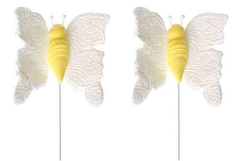 BUTTERFLY SMALL WHITE ON WIRE (20) - SUGAR DECORATIONS