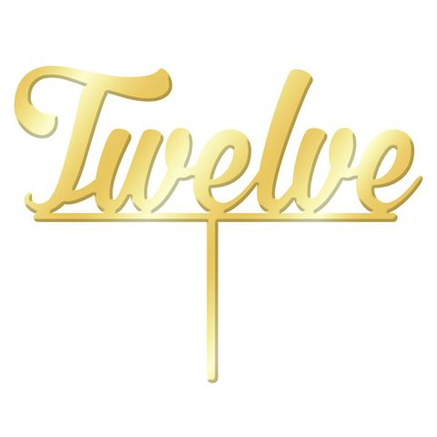 NUMBER TWELVE GOLD MIRROR ACRYLIC CAKE TOPPER